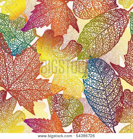 Autumn transparent maple leaves seamless pattern background.