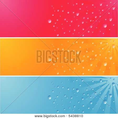 Multicolored Banner With Waterdrops