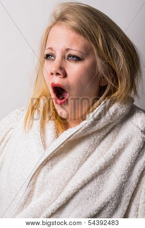 Disheveled Morning Tired Young Woman Yawning
