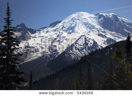 Mount Rainier Sunrise Snow Mountain