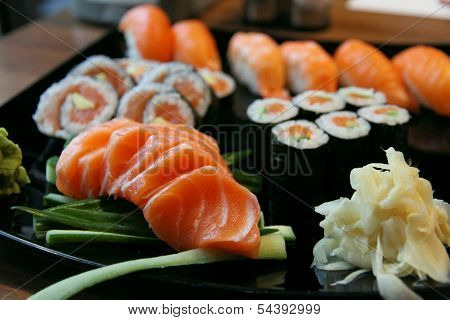 Sushi Rolls With Vassabi On The Plate