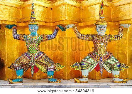 Two Guardians Of Grand Palace, Bangkok Thailand