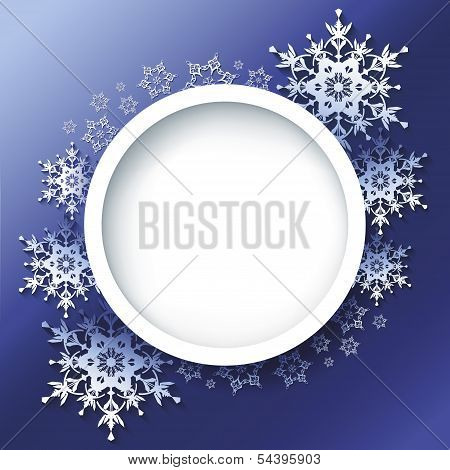 Winter Background, Frame With 3D Ornate Snowflakes