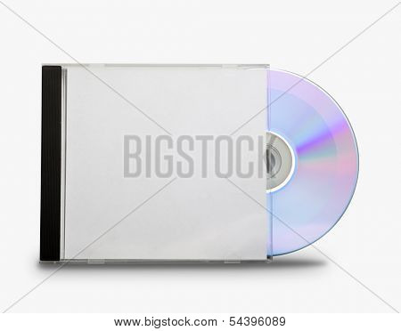 CD in the open box  on white background