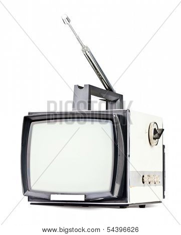 Vintage portable television set on white background