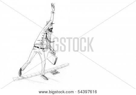 Hand-drawn Sketch, Pencil Illustration, Drawing of Man calling for a cab in a rush| High Resolution Scan, Decent Copy Space
