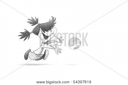 Hand-drawn Sketch, Pencil Illustration, Drawing of Little Girl PLaying Handball | High Resolution Scan, Decent Copy Space