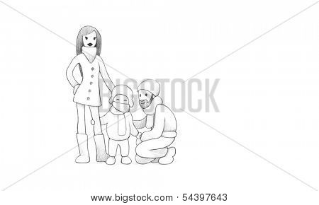 Pencil Drawing of Happy Family Celebrating New Year's eve Together | High Resolution Scan, Decent Copy Space