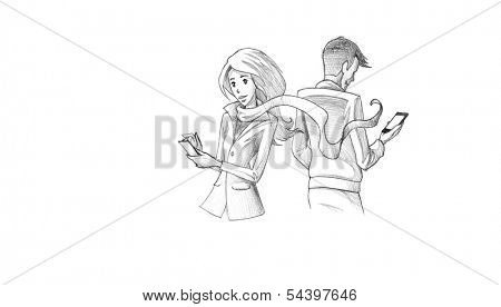 Hand-drawn Sketch, Pencil Illustration, Drawing of Young couple texting on phone | High Resolution Scan, Decent Copy Space