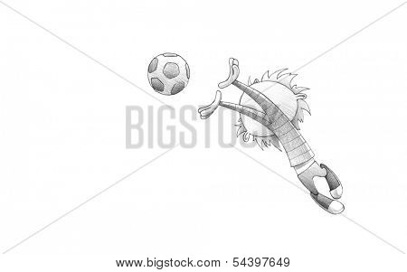 Hand-drawn Sketch, Pencil Illustration, Drawing of Child Soccer Player Goalkeeper Faulting Toward the Football | High Resolution Scan, Decent Copy Space