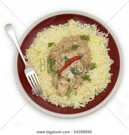 High angle view of balti chicken pasanda curry served on a bed of saffron rice, garnished with coriander leaves and a red chilli.