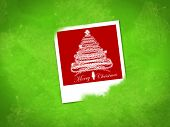 Christmas Tree Photo Frame, Isolated On Green Background
