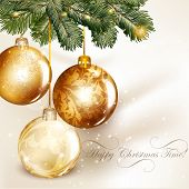 Christmas Design With Classic Baubles Hand On A Fir Tree Branch
