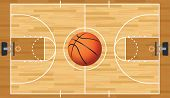 stock photo of basketball  - A realistic vector hardwood textured basketball court with basketball in the center court - JPG