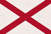 image of alabama  - Alabama state flag of America on brick wall - JPG