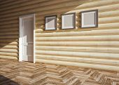 stock photo of chalet interior  - modern blank interior of wooden house  - JPG