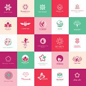 picture of vintage jewelry  - Set of vector icons for beauty - JPG