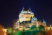 picture of chateau  - Chateau Frontenac at night  Quebec City - JPG