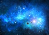 stock photo of nebula  - Stellar nebula cosmos space way astronomy blue - JPG