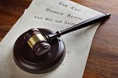 stock photo of divorce-papers  - Gavel and legal papers last will and testament - JPG