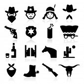 stock photo of outlaw  - Cowboy Icons - JPG