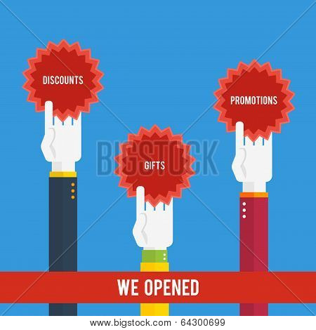 Grand Opening - Hands Holding Stickers