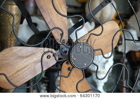 Vintage Wooden and Metal Fan