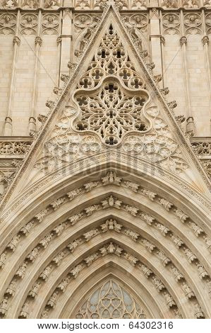 Entrance Portal Of Gothic Barcelona Cathedral