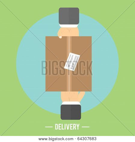 Delivery Box And Two Hands. Delivery Service 24 Hours