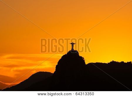 Sunset view of Christ the Redeemer in Rio de Janeiro
