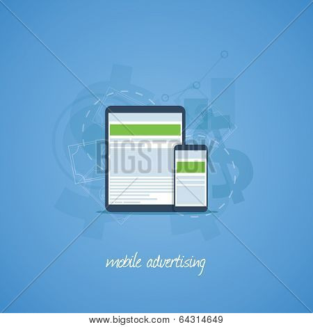 Mobile phone and tablet marketing and advertising vector concept