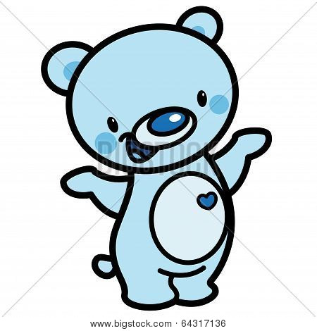 Cartoon Vector Cute Blue Happy Lovely Baby Bear With Heart