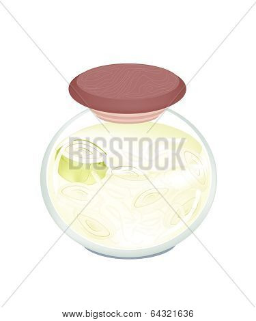 A Jar Of Pickled Onion With Malt Vinegar