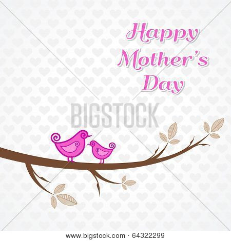 Mothers day greeting with birds on branch stock vector