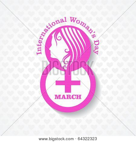 Womans day greeting with female face and symbol stock vector
