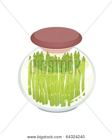A Jar Of Delicious Pickled Green Asparagus