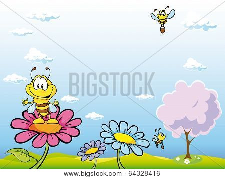 Bee Cartoon Sitting On Flower