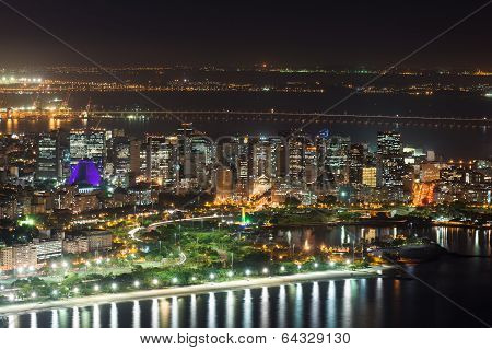 Night aerial view of Centro, Lapa and  Cathedral  Rio de Janeiro