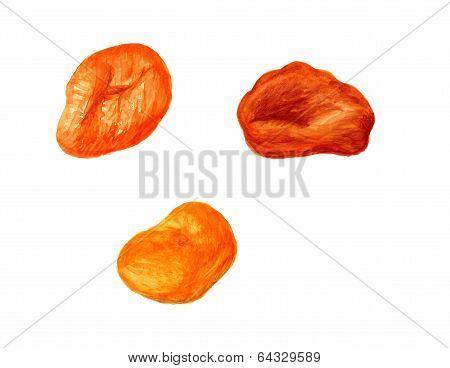 Three dried apricots