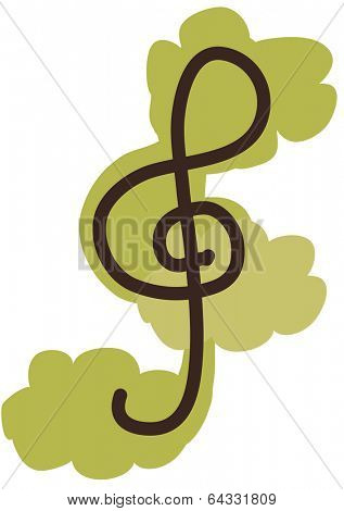 Vector illustration of a treble clef or G-clef