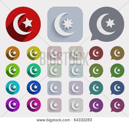 Vector flat ramadan icons set