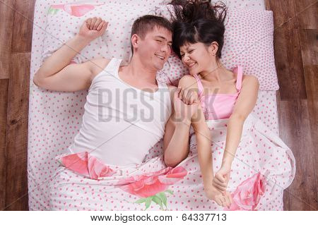 Young Girl And Guy Woke Up In Bed Sipped