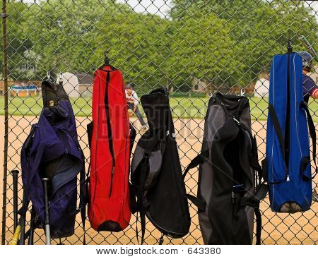 Bat Bags On Fence