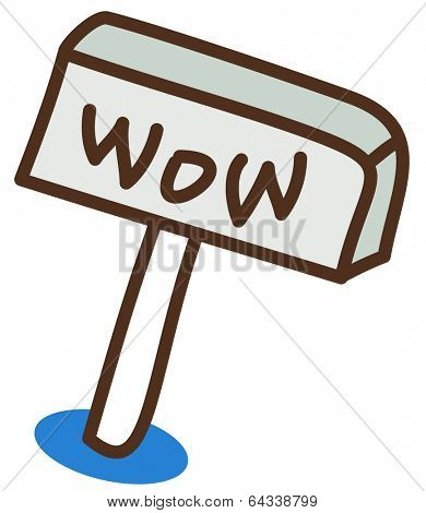Vector illustration of a wow sign