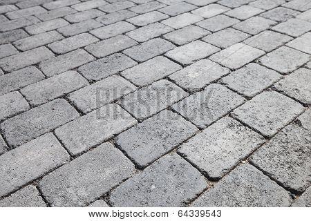 Gray Brick Urban Pavement, Background Photo Texture