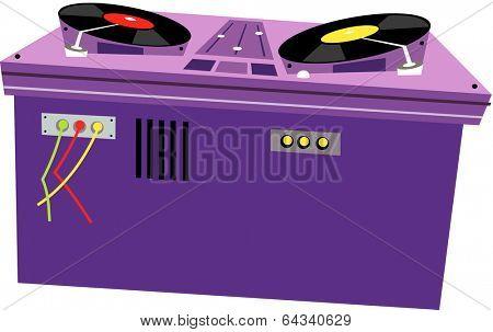 Vector illustration of a DJ station