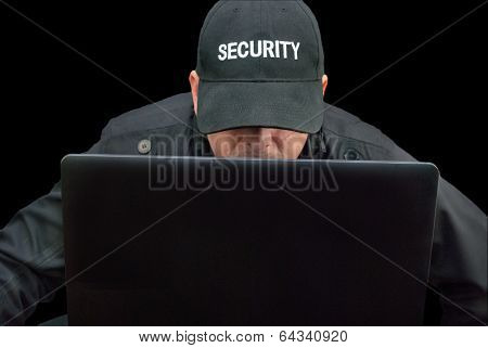Security Working On Laptop, Brim Down