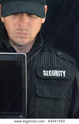 Security Holds Laptop Display To Camera