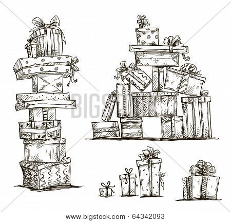 Piles of presents. Doodle heaps of gift boxes. Vector illustration.