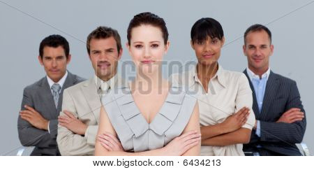 Confident Multi-ethnic Business Team With Folded Arms